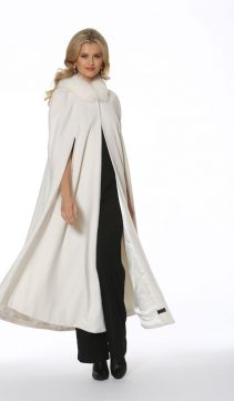 long white cashmere coat-cashmere winter coat-fox trim