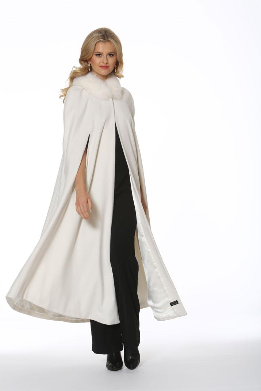 Cashmere Opera Cape Cloak Winter White Fox Trim 52