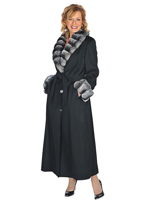 cashmere coat-100% cashmere full length coat-chinchilla collar & cuffs