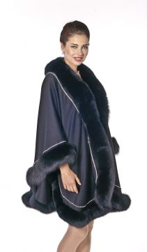 real cashmere cape with fox trim-black fox