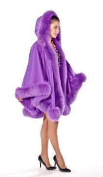 women's cashmere cape-fur cape with hood