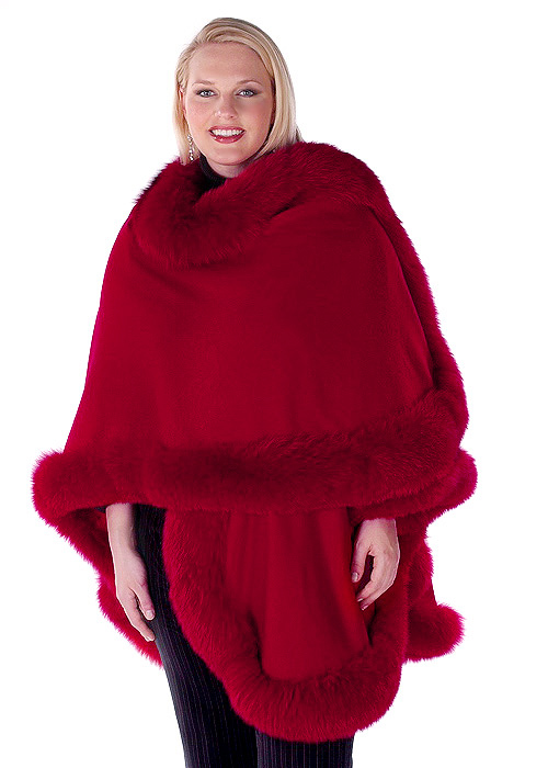 cashmere cape with real fox trim-red-majestic