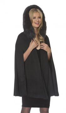black fox trim-women's cashmere cape-35