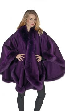 100% real cashmere cape-purple plum