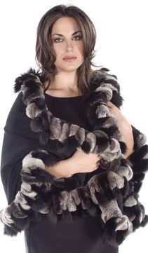 fur cashmere cape-chinchilla rex-black fox