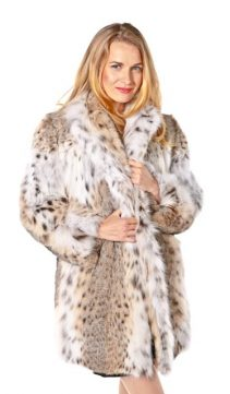 lynx fur jacket for women-classic wing collar