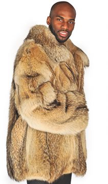Coyote Mens Full Pelted Jacket Natural Coyote