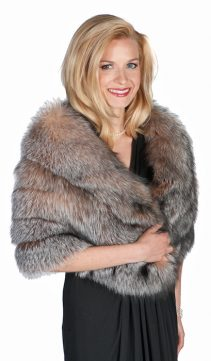 natural real fur cape-fox fur cape-crystal