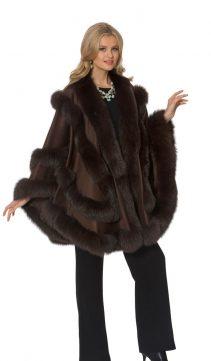women's cashmere cape-dark brown-empress style