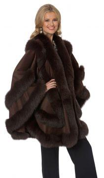 cashmere cape fur trim-plus size-empress style