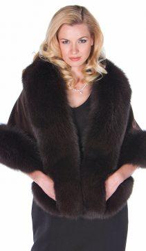 genuine fur cape-dark brown cashmere stole-fox trimmed