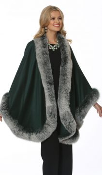 women's cashmere cape-plus size-frost green