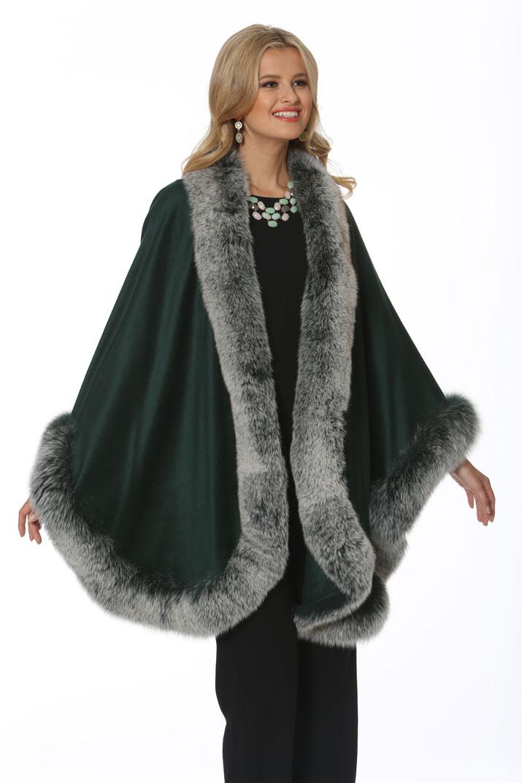 women's cashmere cape-plus size-frost green