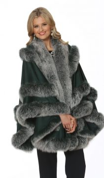 cashmere cape with real fox trim-frost-empress style