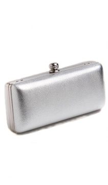 Evening-Bag-Silver-Embossed-Leather-Double-Handle