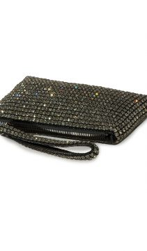 Evening-Bag-Swarovski-Crystal-Mesh-Wristlet-Black