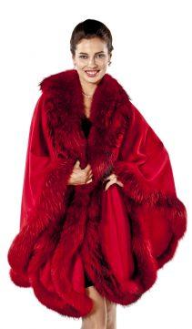 real cashmere cape-finn raccoon trim