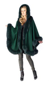 fur coat womens-forest green-detachable hood