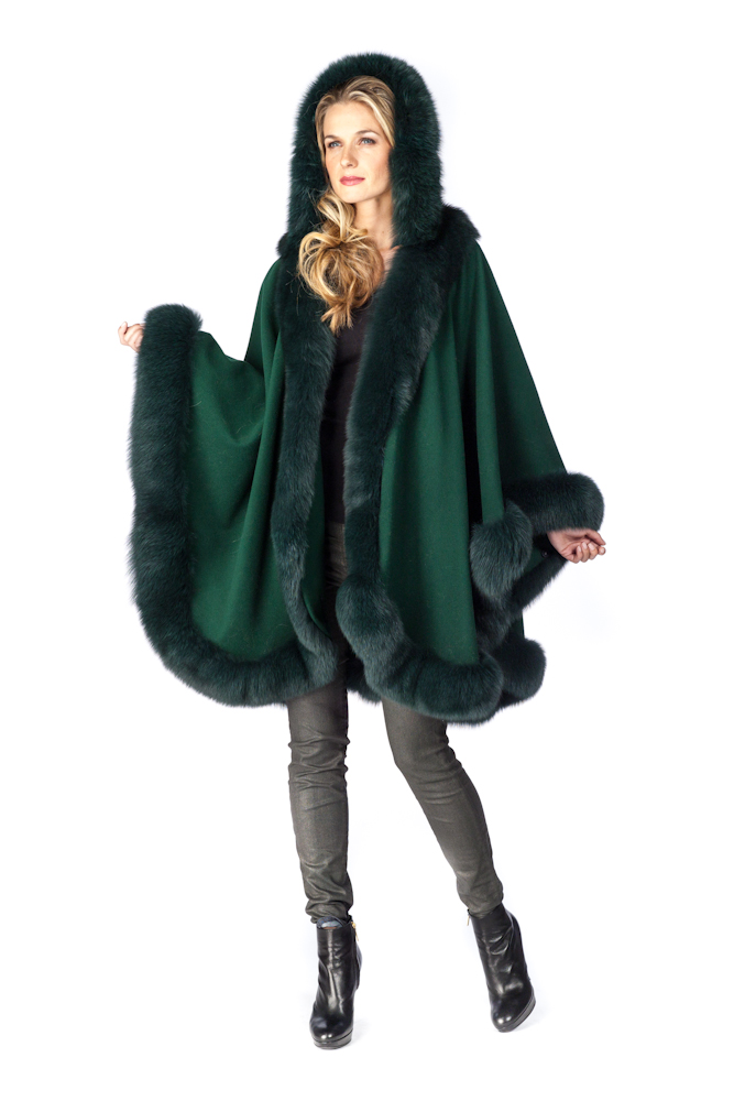 fur coat womens-forest green-detachable hood