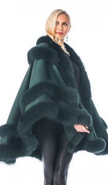 cashmere cape with fox fur trim-forest green