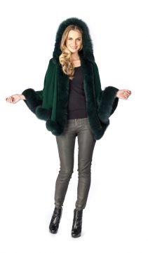 cashmere cape-fox trim-forest green short hooded