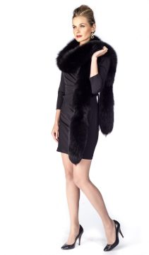 black fox fur trim boa-women's real fox fur boa