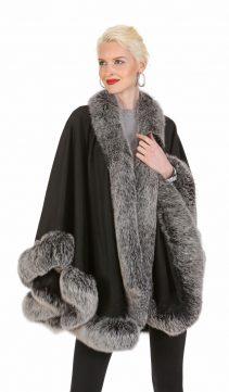 black cashmere cape with fox fur-frost fox