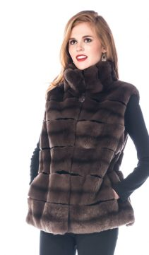 rex chinchillette (tm) vest-natural rex fur vest-brown chincihllette vest
