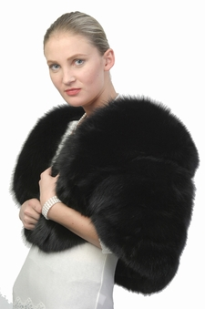 real fur cape-black fox fur cape with fox trim