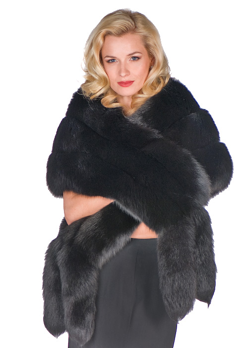 fur cape real-black fox fur cape with double fox trim