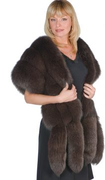 fox fur wrap-fur cape-brown fox fur-double fox trim