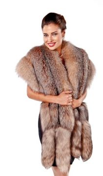fur wrap-fox fur wrap-crystal-original fur cape-double fox trim