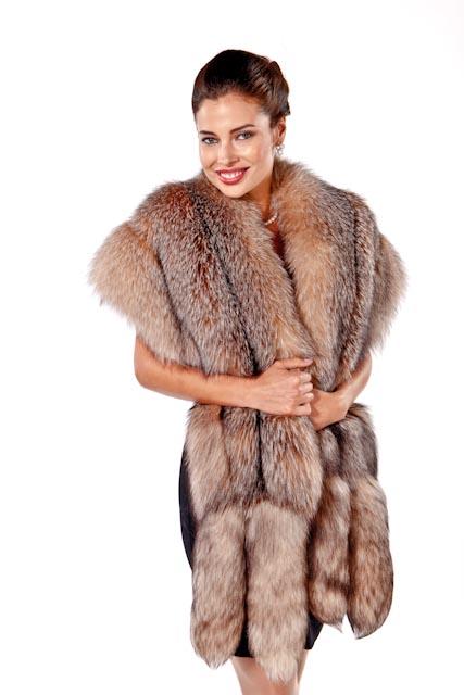 fur wrap-fox fur wrap-crystal-original fur cape-double fox trim