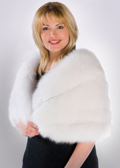 fox fur cape plus size-real fur cape with fox trim-white