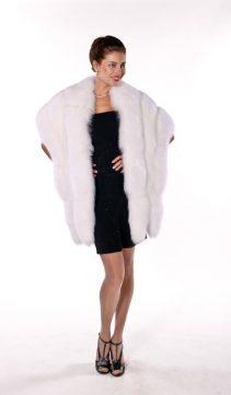 fur cape-natural white fox fur wrap-real fox trim-double fox trim