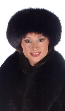 black fox fur headband-natural fur