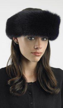 dark navy fox fur headband for women-fur headband