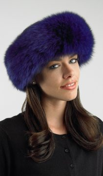 fox fur purple headband-deep purple