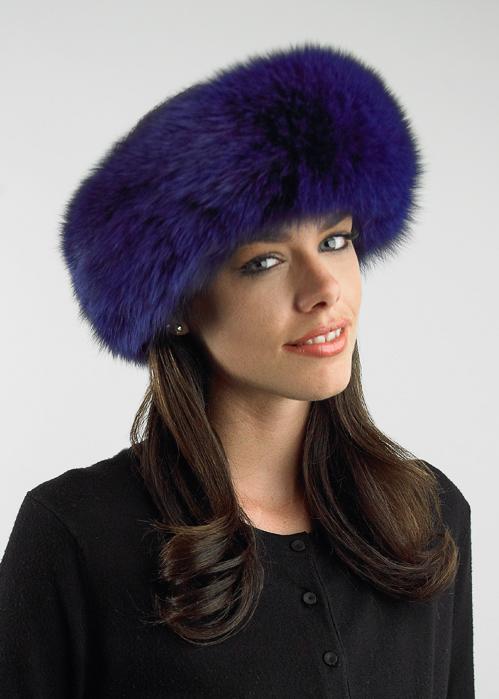 fox fur purple headband-deep purple