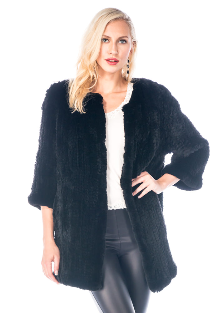 real knitted rex rabbit fur sweater-black knitted fur-cardigan