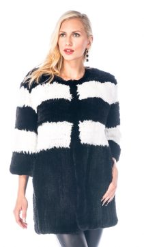 natural fur black sweater-real knitted rex rabbit fur sweater-cardigan