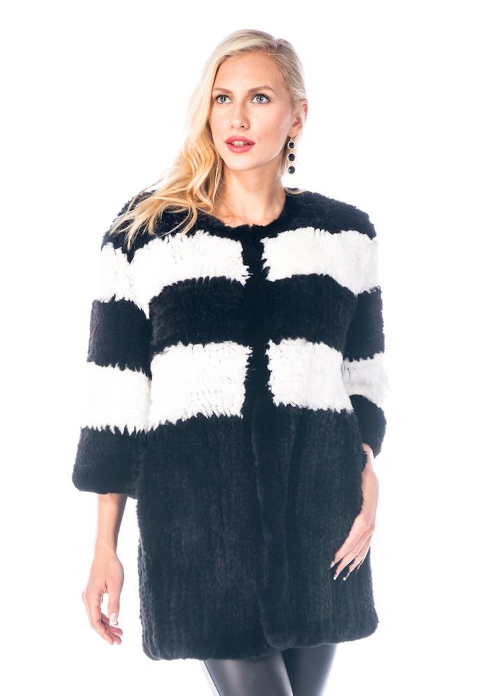 natural fur black sweater-real knitted rex rabbit fur sweater-cardigan