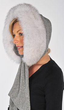 fox fur hood-natural blue fox trim hooded-fox fur trimmed hood