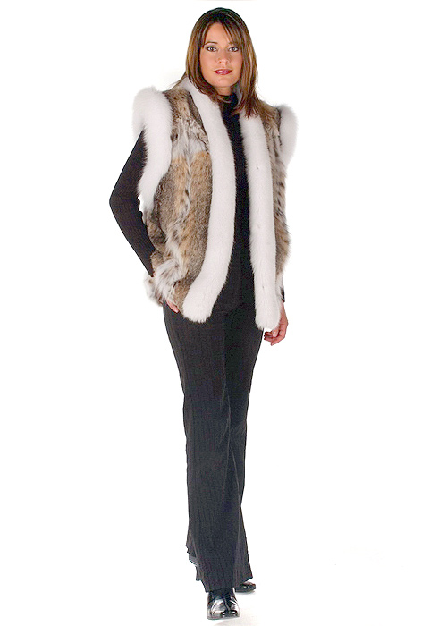 women's natural lynx vest with real white fox trim