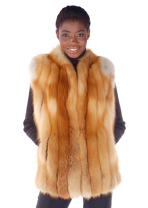 womens fox fur vest-real fur vest fox-fur vest real-natural red fox fur vest