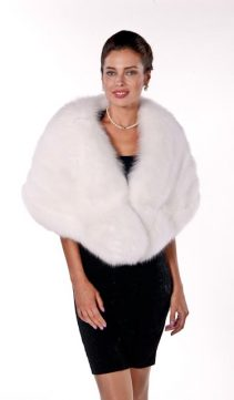 fur cape-white fox fur cape-genuine fox fur cape