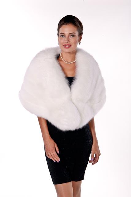 fur cape-white fox fur cape-genuine fox fur cape