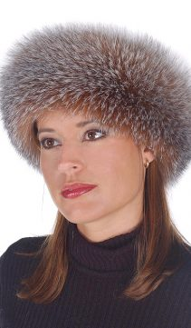 real fox fur trim headband-crystal fox headband