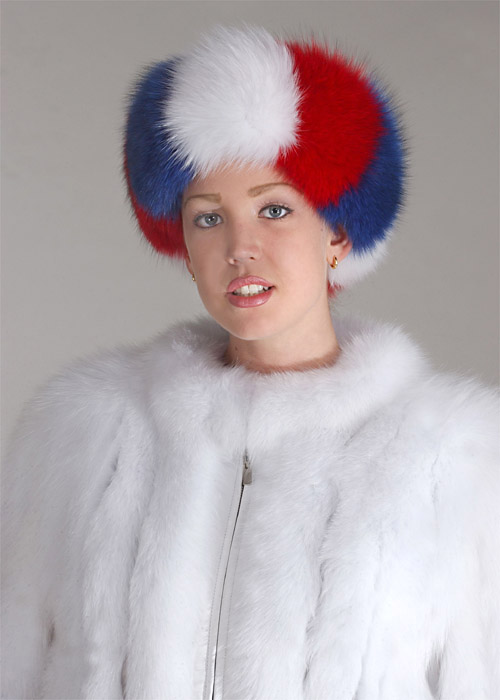 fox fur white headband-red and blue fox fur headband