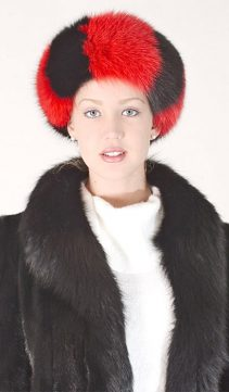 fox fur headband-genuine red and black fox trim headband